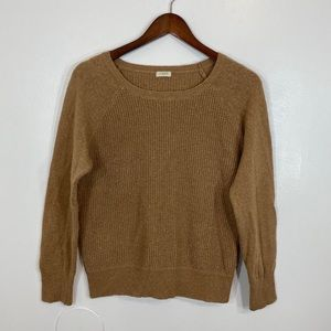 J crew Waffle Crewneck Tan WoolBlend Sweater